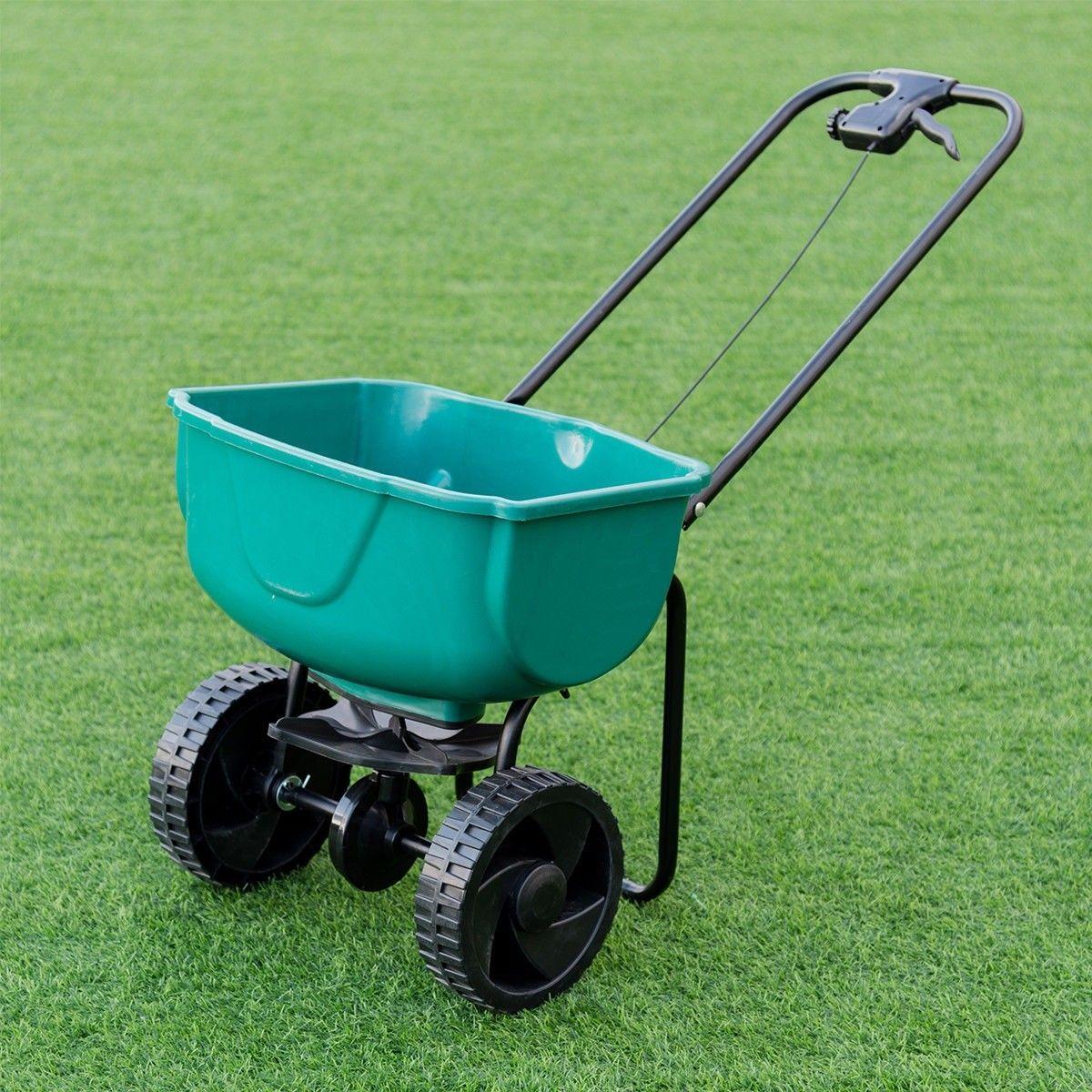 Garden Seeder Push Walk Behind Fertilizer Broadcast Spreader With