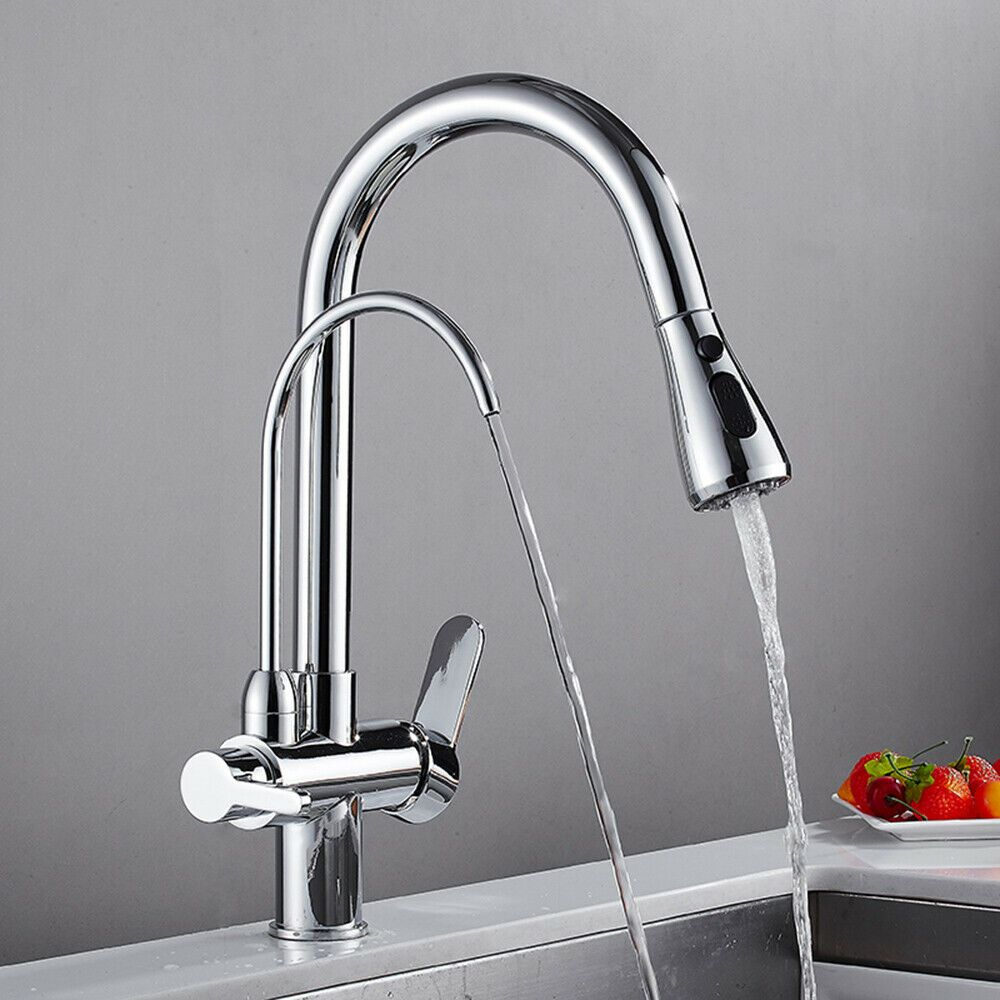 2 Handles Kitchen Chrome Sink Faucet Pull Out Drinking Water Filter Purifier Tap Kitchen Faucets Ideas Of Kitchen Faucets Kitchen Faucet Sink Faucets Sink