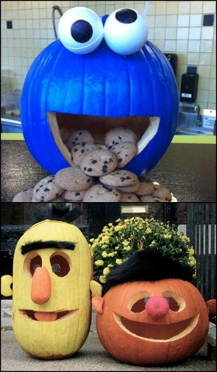 Make Sesame Street pumpkins for a cute Halloween decor! See more