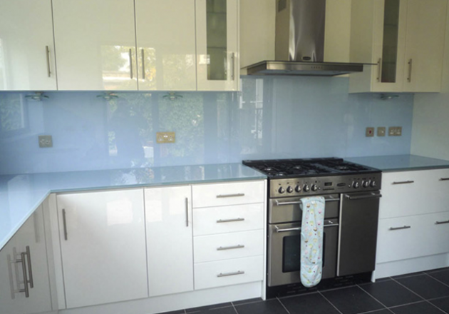 Blue Glass Kitchen Splashback For The Home Kitchen