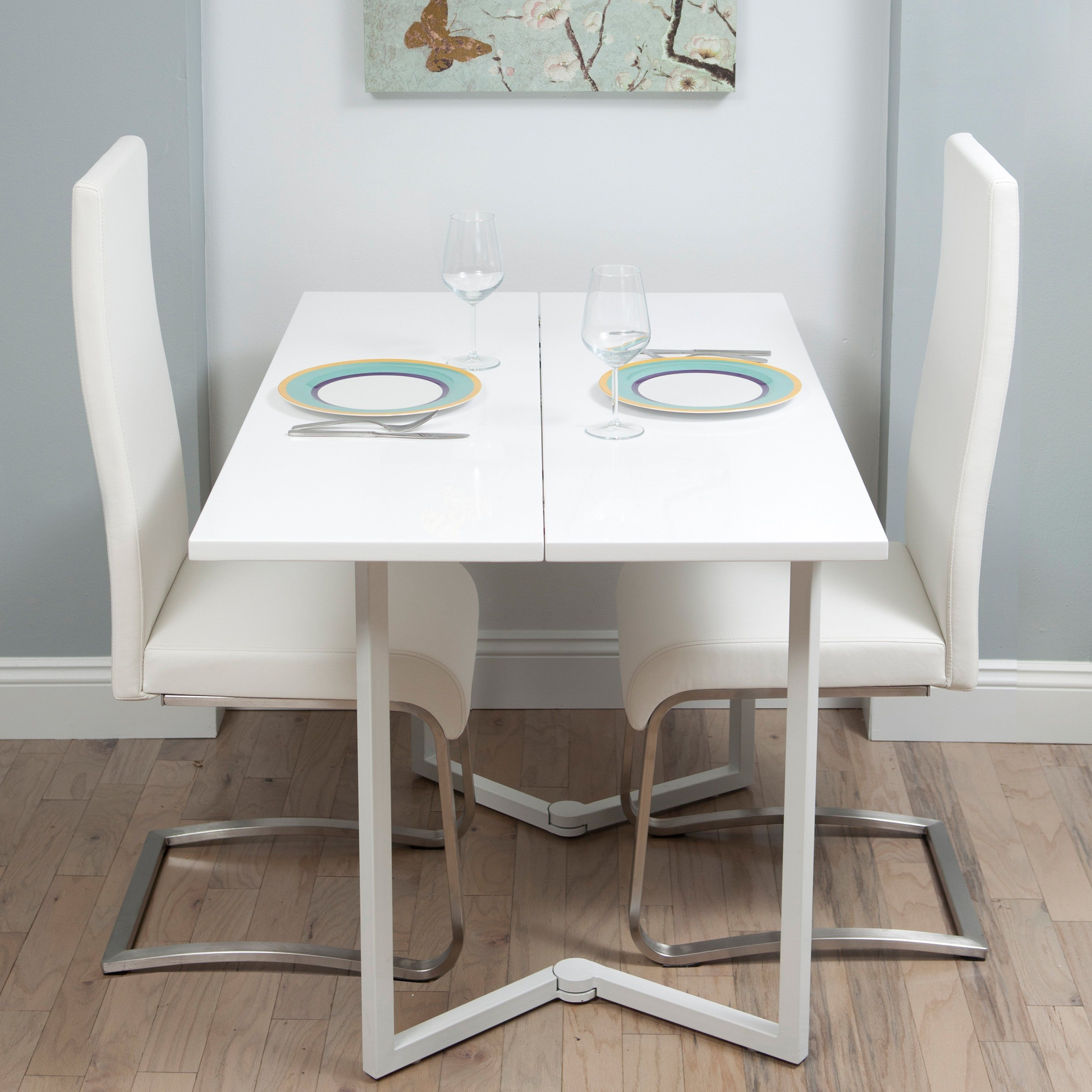 White Fold Away Dining Table And Chairs