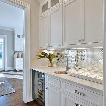 Shiny Backsplash White Butler Pantry With Stainless Steel Mini Brick Tile