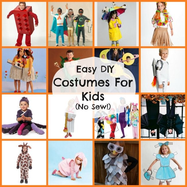 16 diy easy costumes for kids no sew halloween for Easy homemade costume ideas for kids