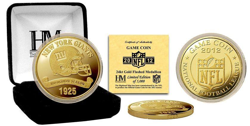 AAA Sports Memorabilia LLC - New York Giants 2012 Gold Game Coin, $34.95 (http://www.aaasportsmemorabilia.com/nfl/new-york-giants/new-york-giants-2012-gold-game-coin/)