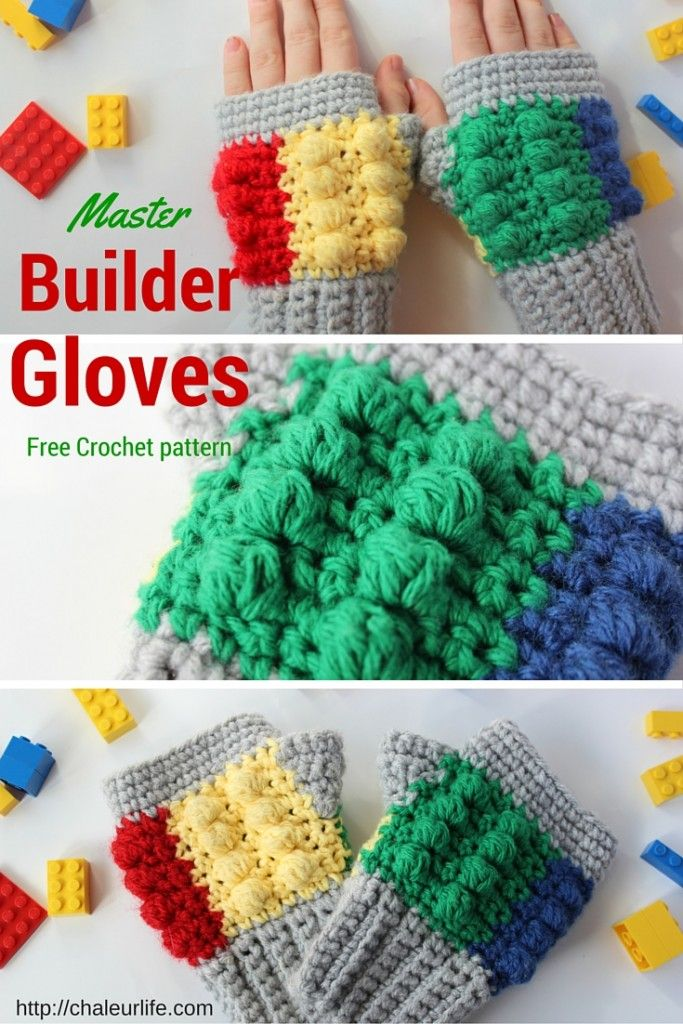 Lego Inspired Master Builder Gloves - Free Crochet Pattern ...