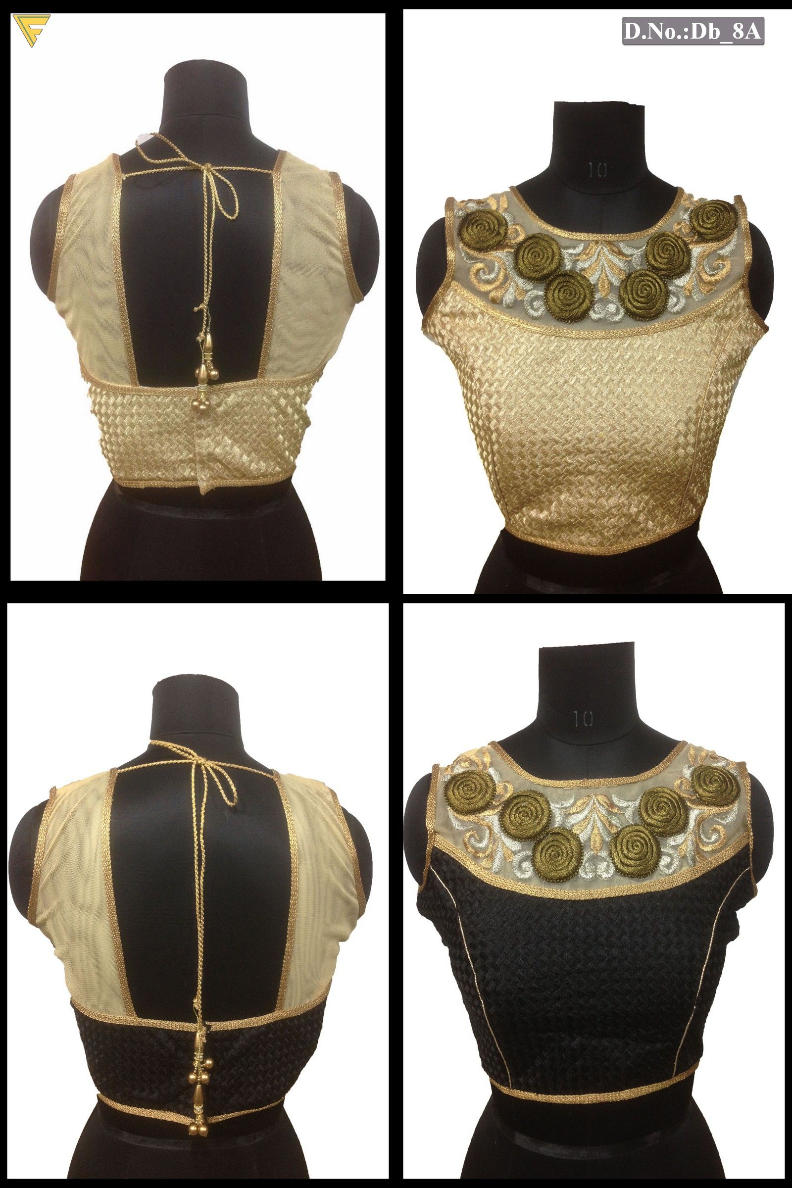 Ready made blouse with zari work and embroidery work with fancy