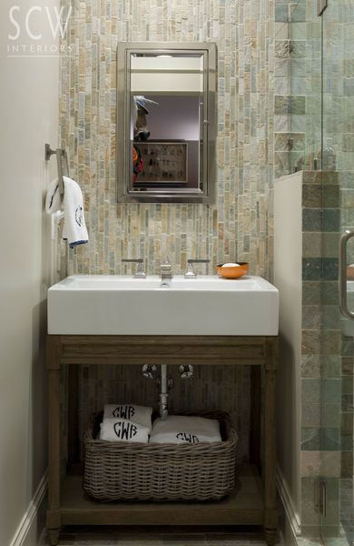 Powder Room Vanity Style And Wall Of Rustic Tile To Mimic The Stone