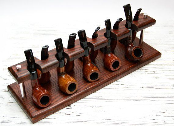 Wooden Tobacco Pipe Stand Rack Hold Display For 5 Smoking Pipes Holder Stand New