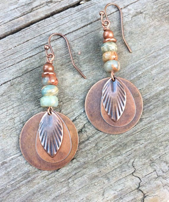 Photo of Boho Earrings Dangle, Bohemian Jewelry Dangle Earrings, Copper Boho Earrings, Copper Jewelry, Natural Stone Jewelry, Copper Drop Earrings