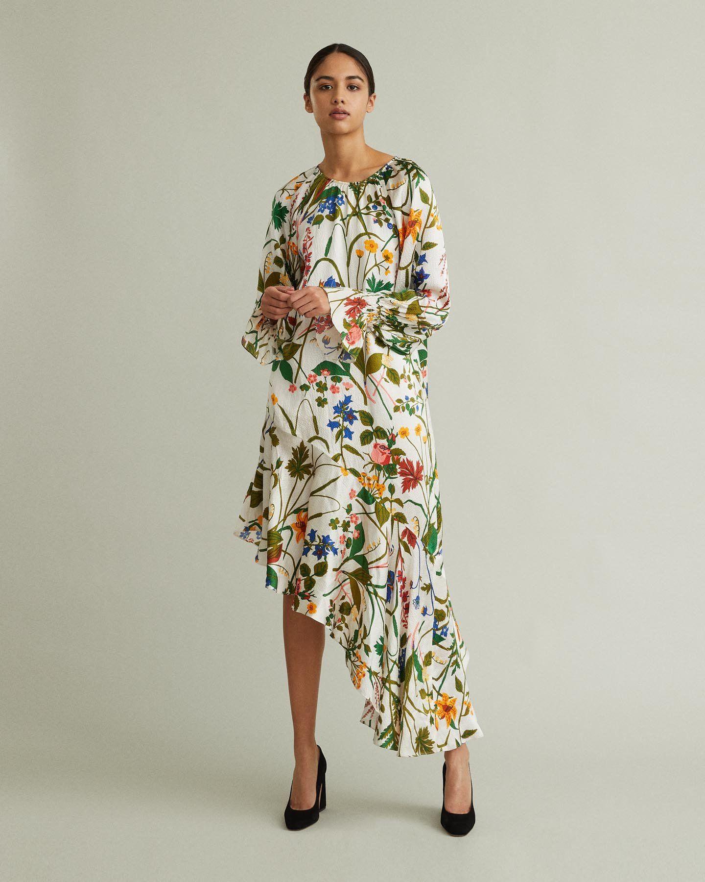 Auda Asymmetric Silk Midi Dress