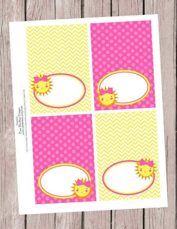 INSTANT DOWNLOAD, Printable / You are My Sunshine / Folded Tent Cards, You Print / Coordinating items are available on Etsy, $6.00