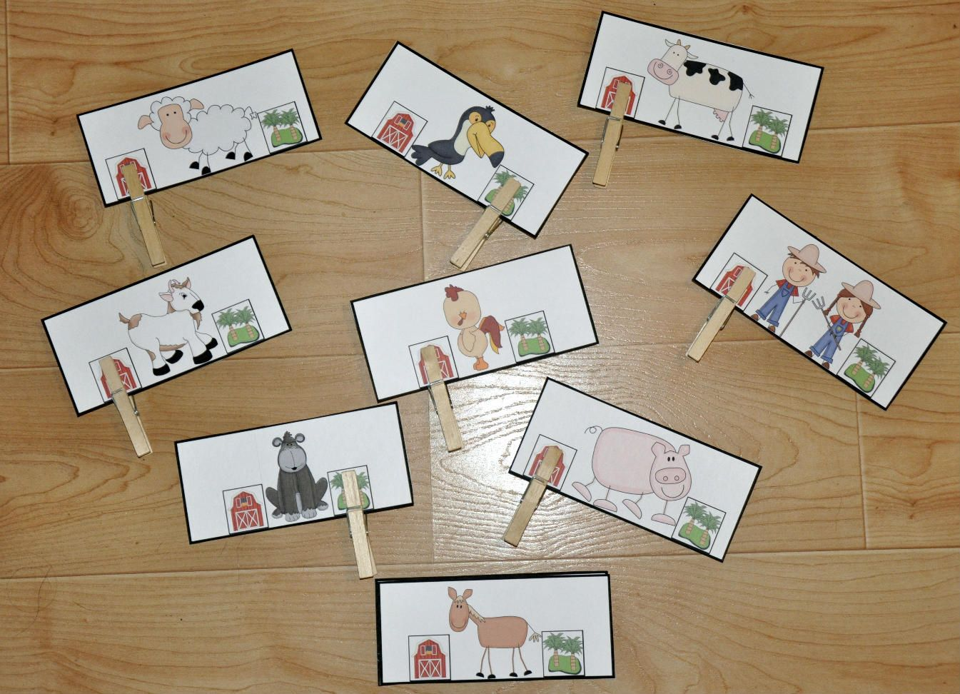"Where Do They Live (Farm Themed Activity): Students attach one clothespin per card to indicate whether each animal lives on a farm or lives in the jungle.  This clothespin task is also part of the complete ""Busy Busy Farmer Brown Adapted Books Unit."""
