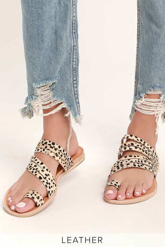 Nelly Leopard Calf Hair Flat Sandal