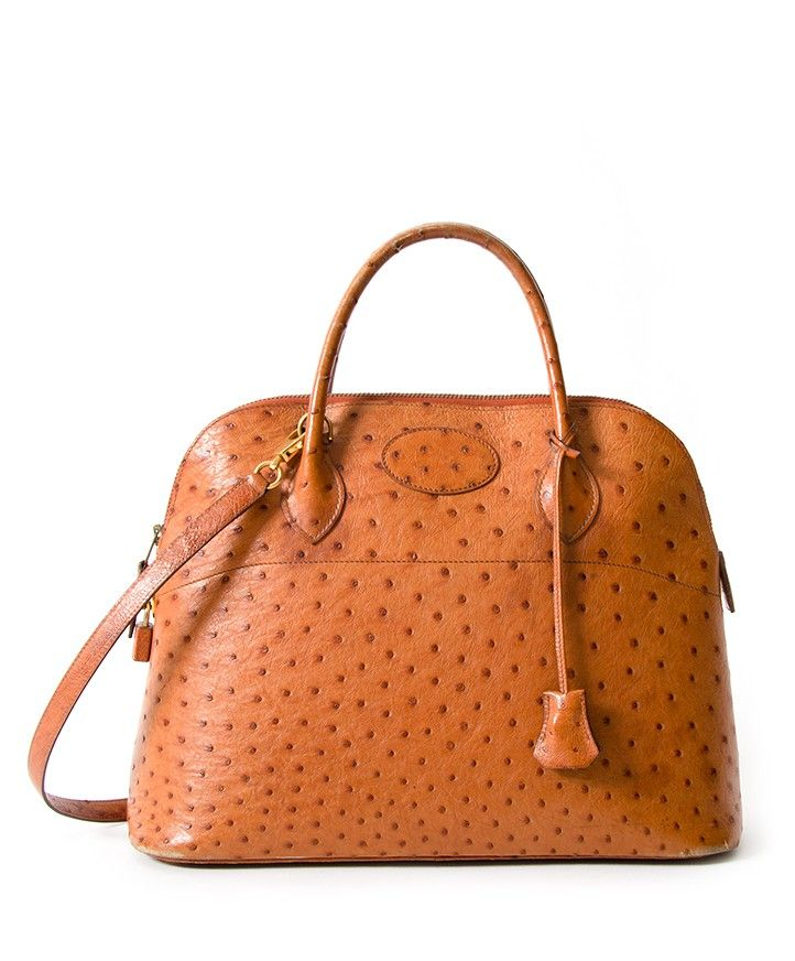 2dbaa135328d Hermès Bolide Cognac Ostrich Bag authentic secondhand safe online shopping  webshop LabelLOV Antwerp Belgium luxury brands designer high end labels  fashion ...