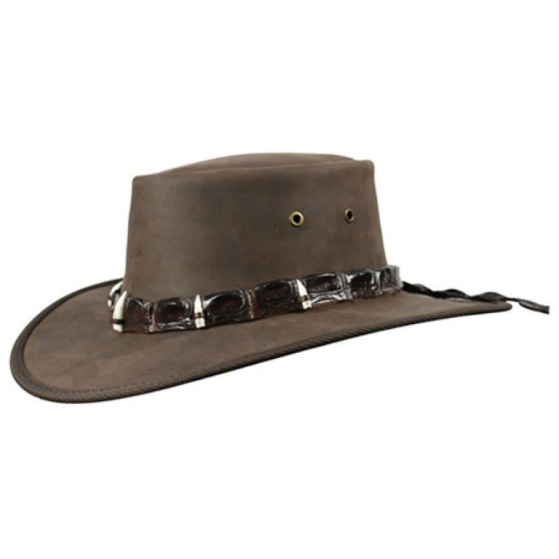 Hat with 5 Real Croc Teeth Hat Band - Outback - Men s Hats Australian a26017e9d699