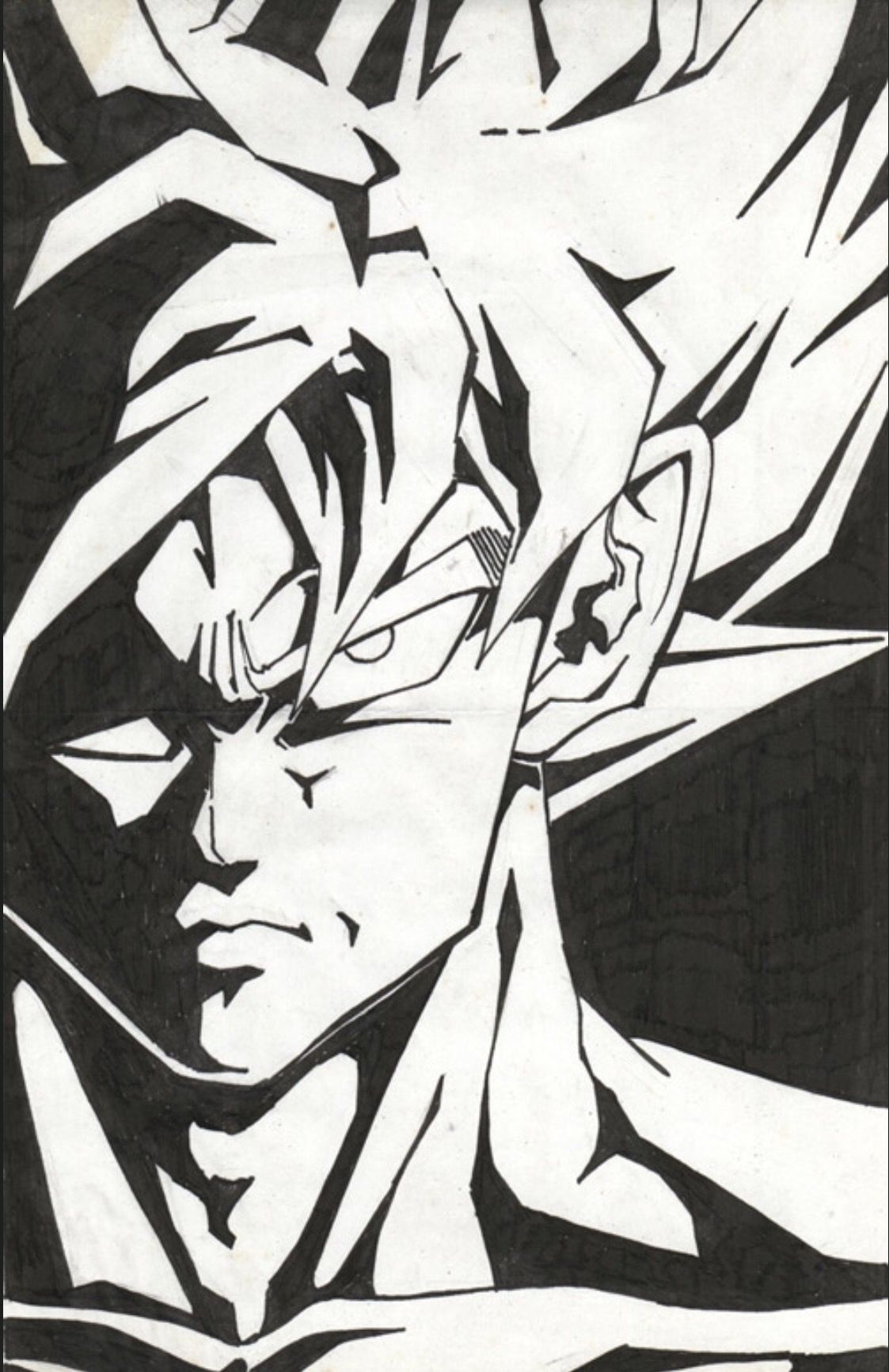 Black paper drawing cartoon sketches dragon ball z goku dragon pop art