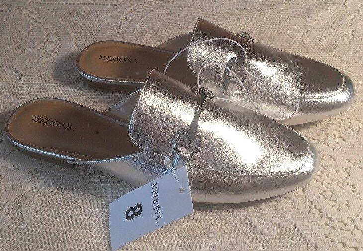ed443f1b58f NEW Women s Kona Backless Mule Loafers - Merona Silver 8
