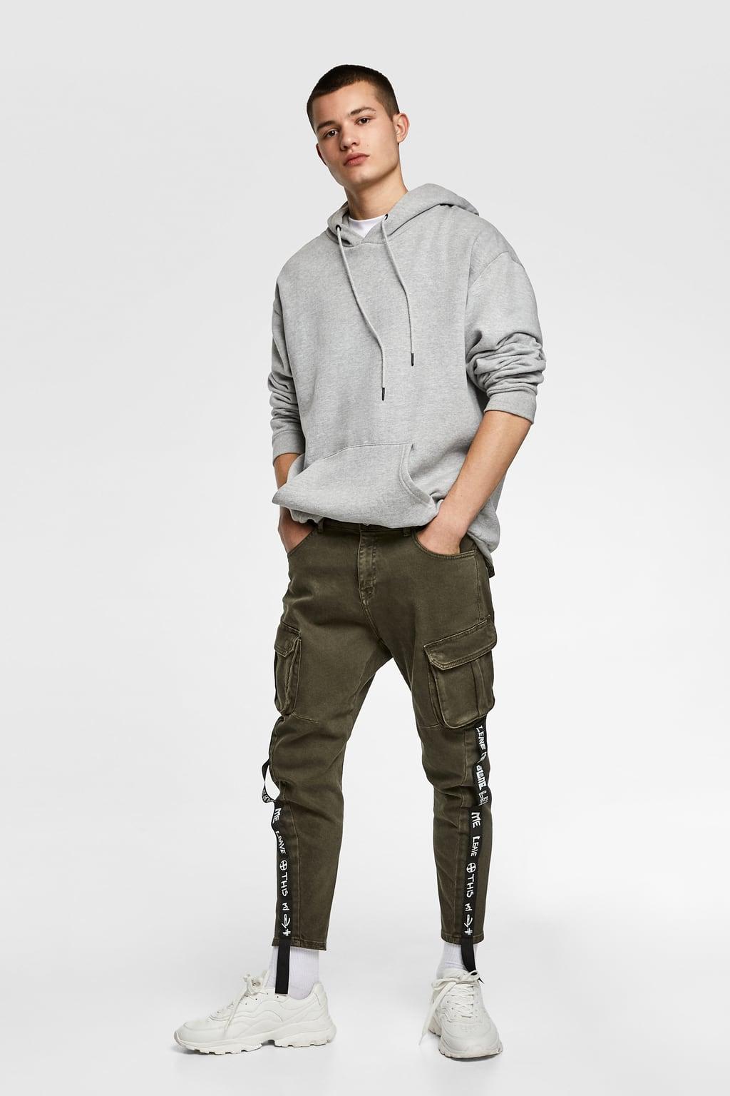 Jeans Cargo Cintas Ver Todo Pantalones Hombre Zara Colombia Cargo Pants Men Cargo Jeans Mens Outfits
