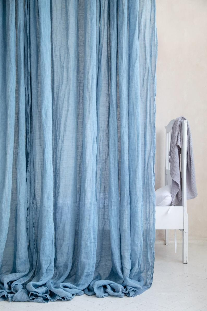 Light Blue Sheer Linen Curtains Azure Delicate And Light Curtain Panel Linen Muslin Drapes In Baby Blue And More White Linen Curtains Sheer Linen Curtains Light Blue Curtains