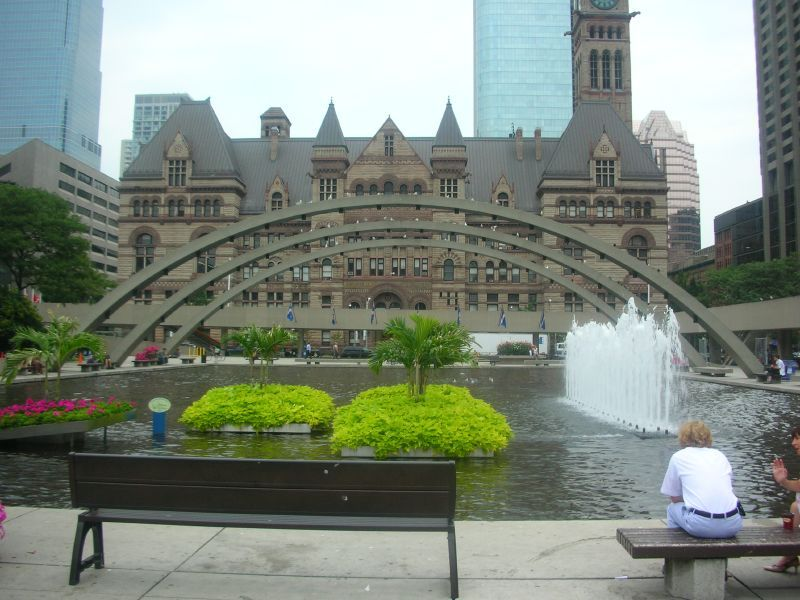 Nathan Phillips Square, Toronto Canada...this pond is a skating rink in the winter