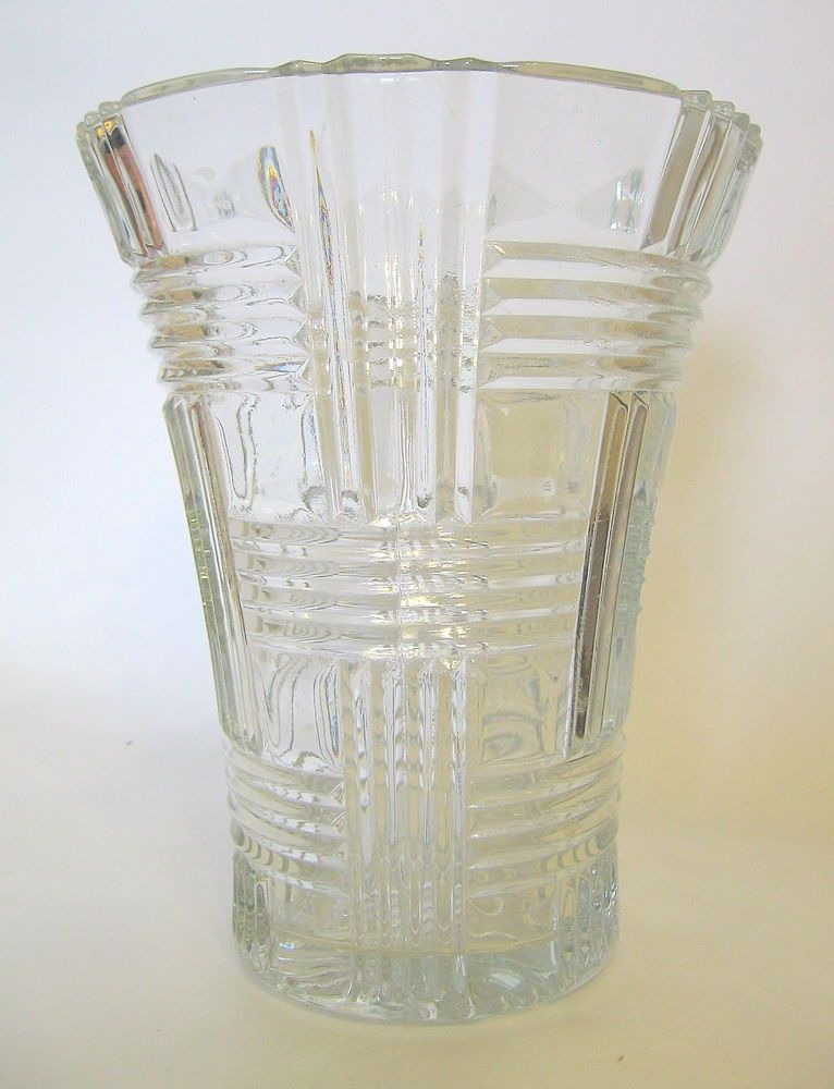 Vintage Artistic American Glass Vase Clear Basket Weave 6 To 7 Inch