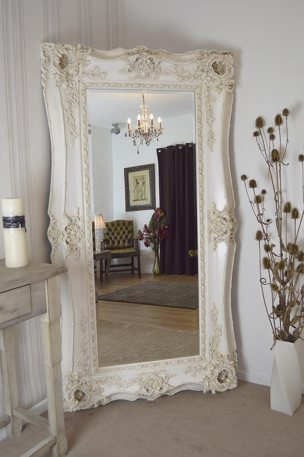extra large full length antique style ivory rectangle wall on wall mirrors id=82054