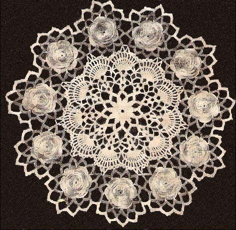 Rose Doily, Irish Vintage Pattern, Flower Doily Crochet