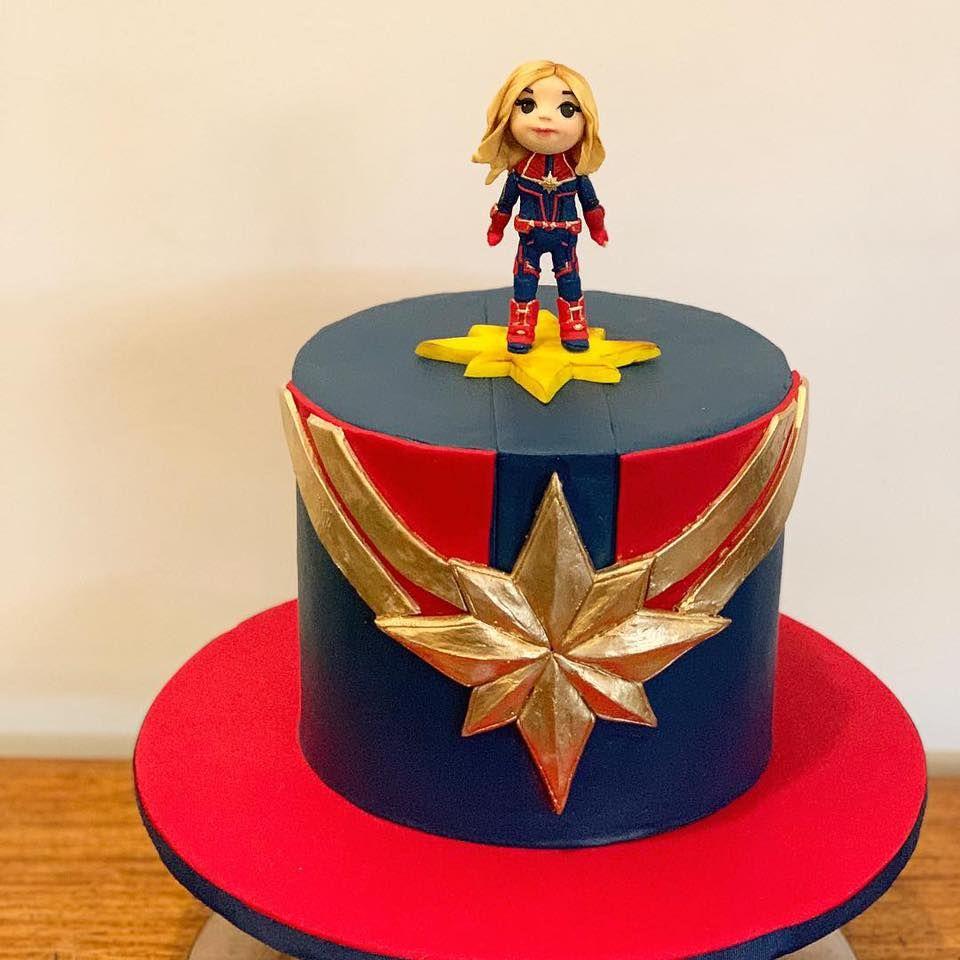 Captain Marvel Cake Marvel Cake Marvel Birthday Party Marvel Party