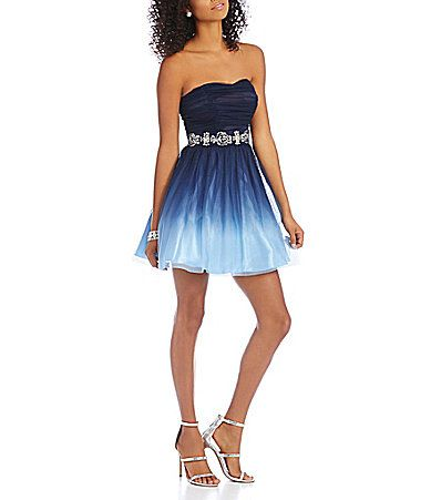 5956c3c416dc ... short prom and formal dresses. B Darlin Strapless Ombre Party Dress # Dillards