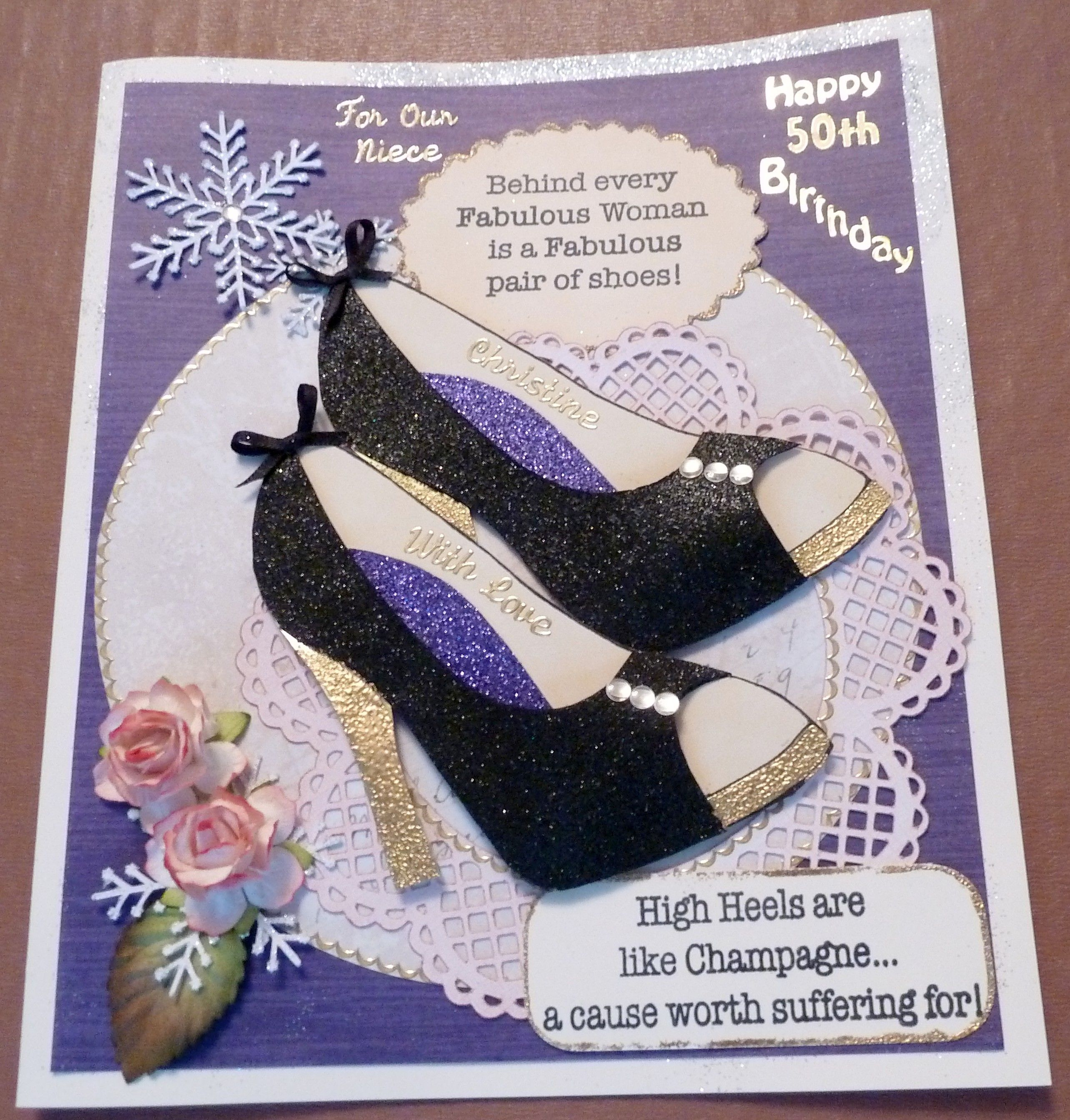 Decoupaged shoes for a special person's 50th Birthday.