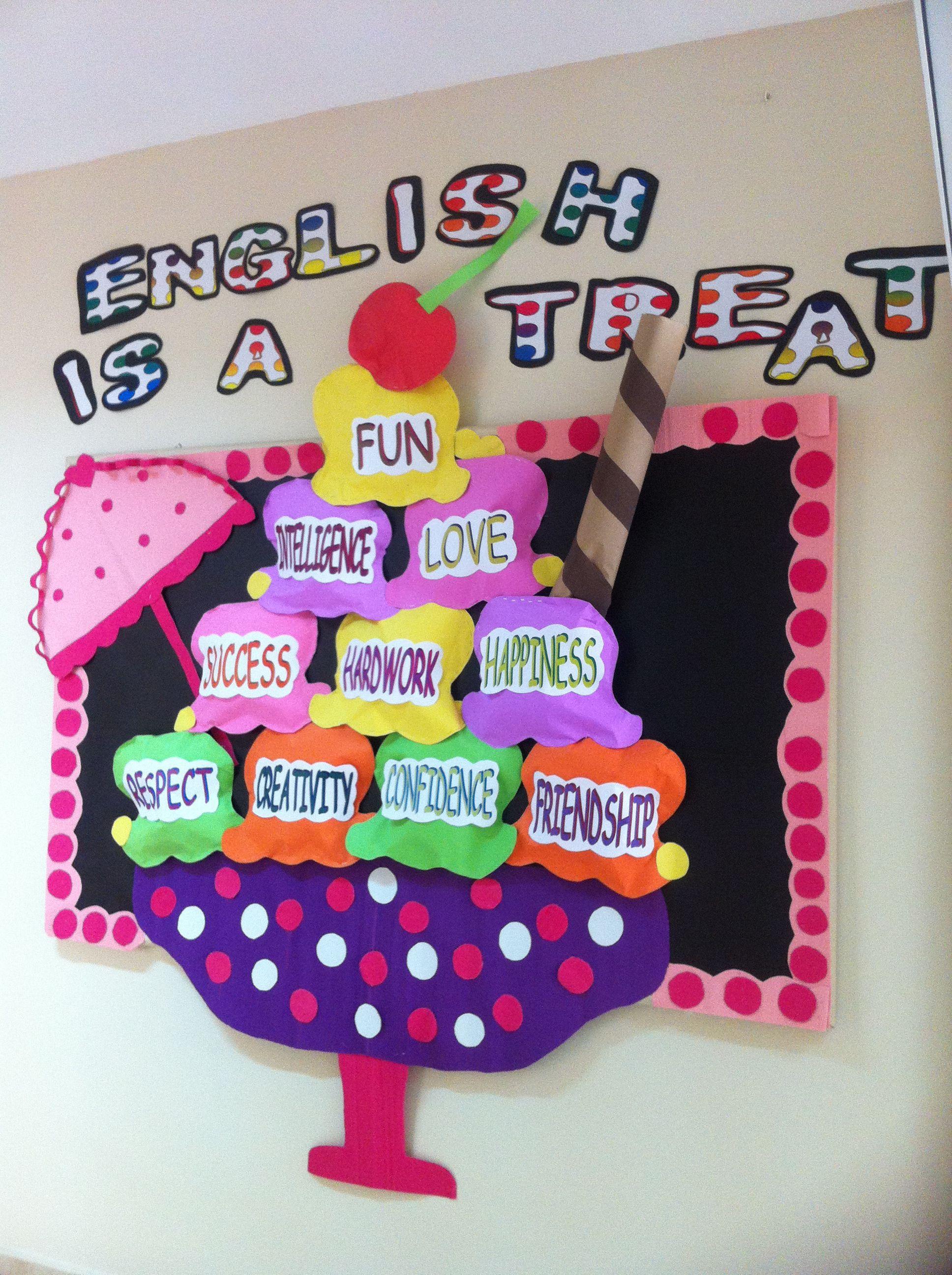 Ice cream bullettin board | School is cool | School board ...