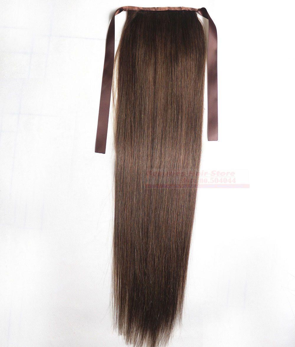 Brazilian hair clips inon human hair extensionl ponytail medium