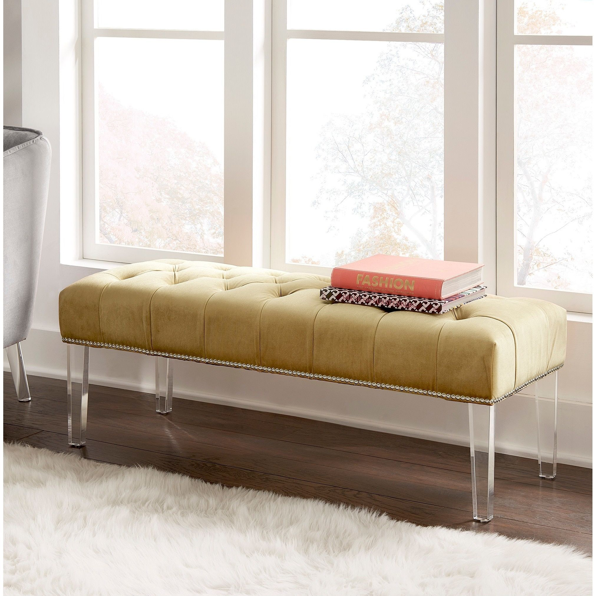 Anya Velvet Nailhead Button Tufted Acrylic Leg Bench by iNSPIRE Q Bold (