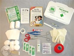 This high quality 46 piece first aid kit made just for your canine. Comes all in a white poly box that's easy to bring with anywhere. While venturing out you'll never have to worry again. http://www.moorepet.com/Premium-Canine-First-Aid-Kit-p/909.htm