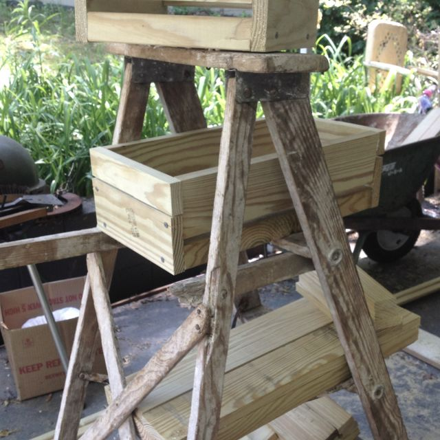 Old rickety ladder becomes beautiful planter