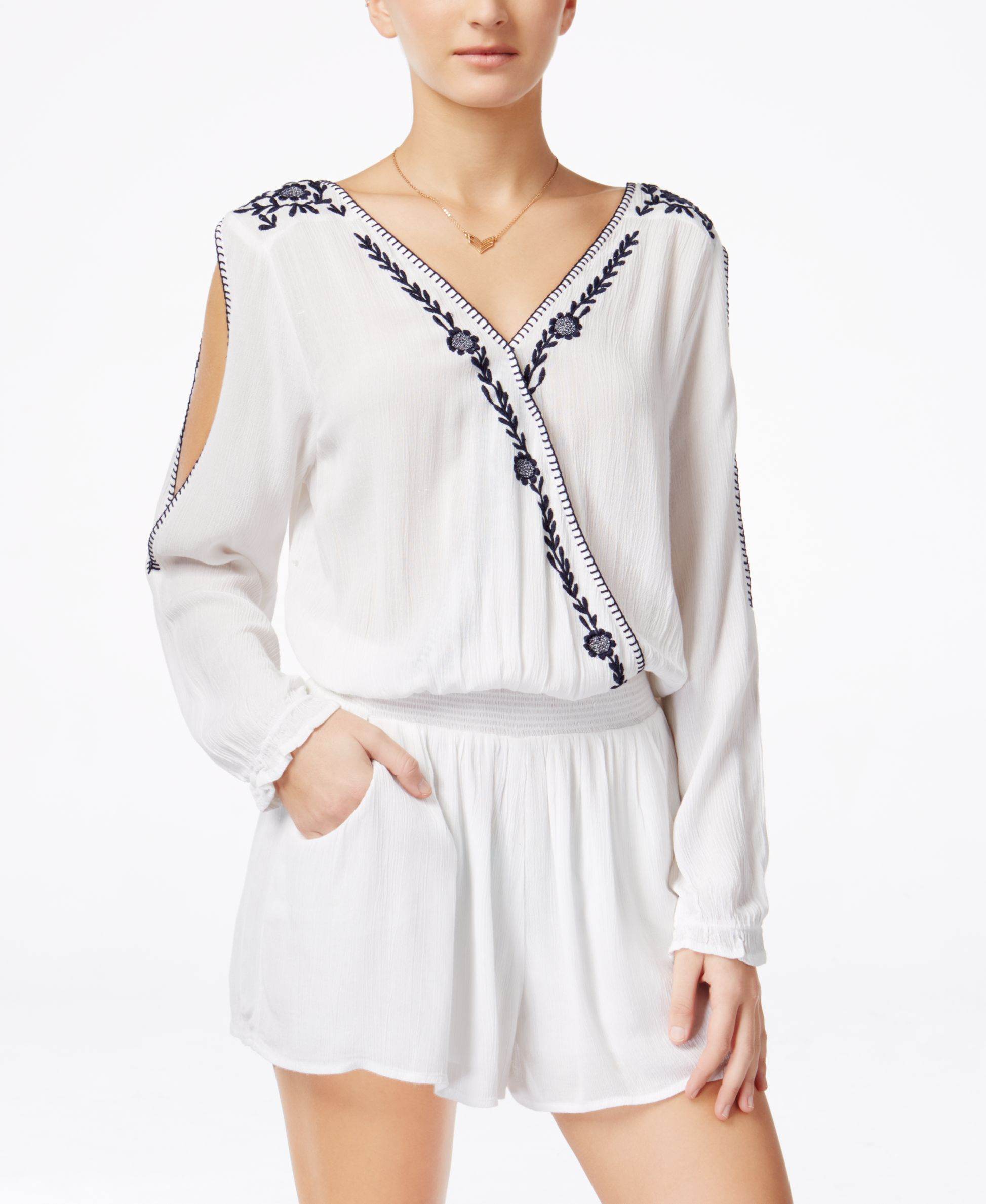 6c3b83fe46e American Rag Juniors' Long-Sleeve Embroidered Romper, Only at Macy's ...
