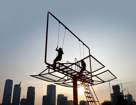 the 'urban swing' movement as seen on playscapes: A Brief History of the Urban Swing Movement