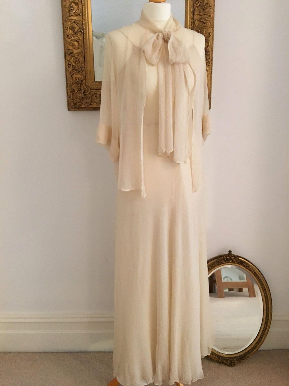 1930s wedding dress  Vintage Wedding DressSilk Georgette Wedding Dress and jacket
