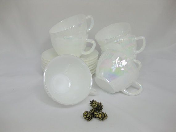 Federal Glass Moon Glow Cups and Saucers Milk Glass by FreeLiving