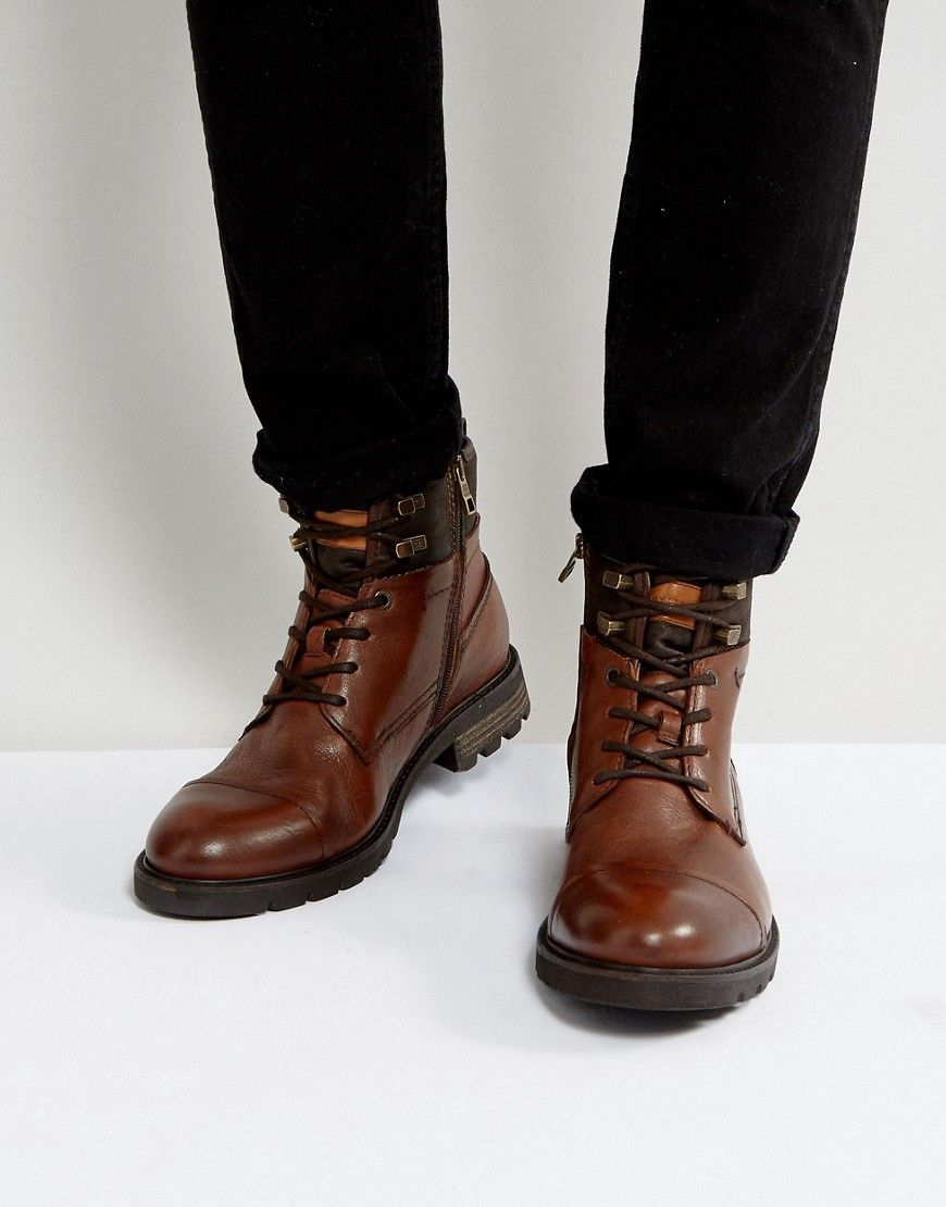 31773bc1e0281 TOMMY HILFIGER CURTIS LEATHER BOOTS IN BROWN - BROWN.  tommyhilfiger  shoes