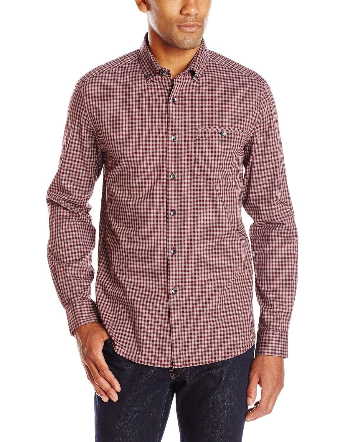 Kenneth Cole Men's Long-Sleeve Heather Check Shirt at Amazon Men's Clothing store: