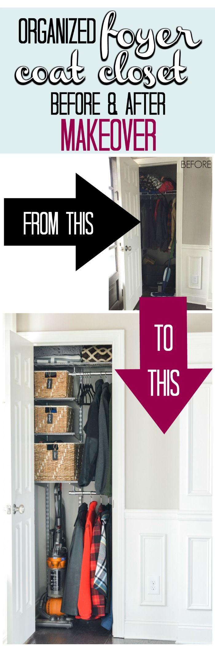 Organized Foyer Coat Closet Before And After Makeover Kelley Nan Coat Closet Organization Closet Remodel Coat Closet Storage