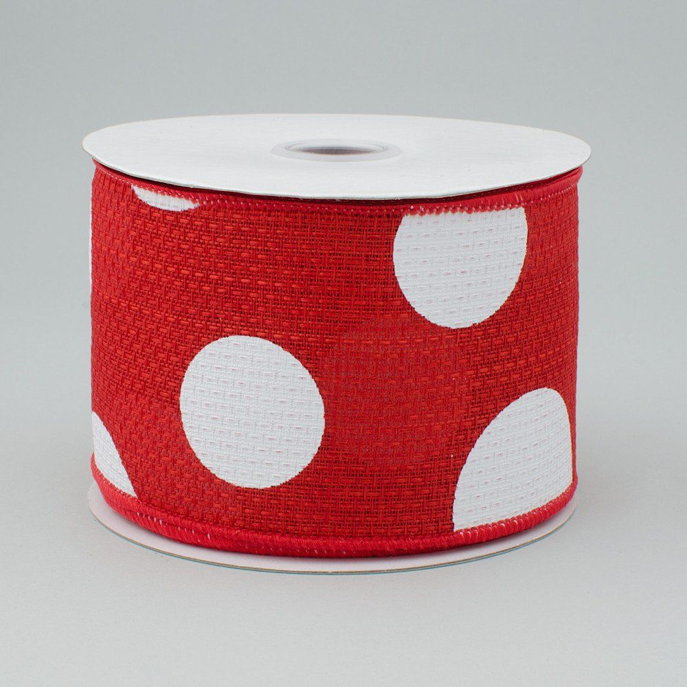 2 5 Faux Burlap Giant Polka Dot Ribbon Red White 10 Yards Rg0120024 Deco Mesh Ribbon Halloween Deco Mesh Burlap