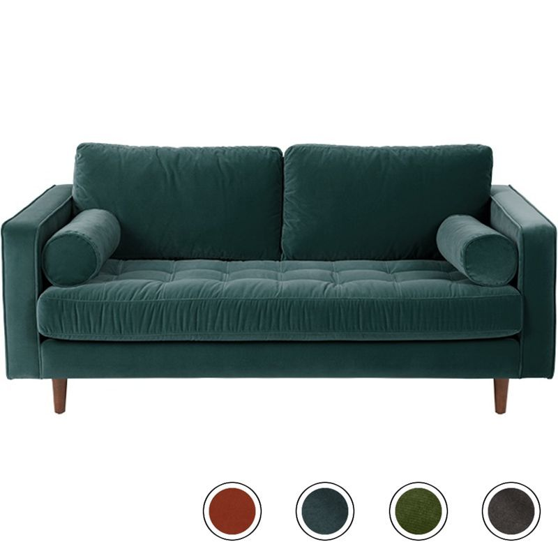 Made Large 2 Seater Sofa Petrol Cotton Velvet Teal Scott 2 Seater