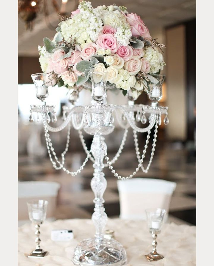 Pastel Pink And White Tall Wedding Centerpiece We This Moncheribridals Com