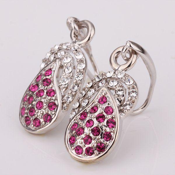 A AAF31   Fashion Jewelry Rhinestone Crystal 18K Gold-Filled Earrings
