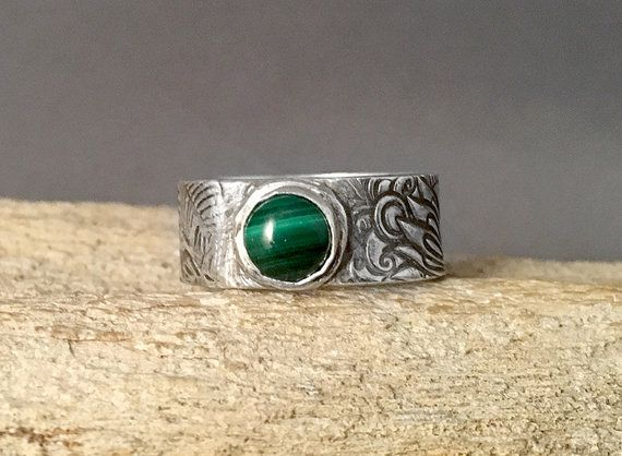 Wide Band Silver Ring  Silver Malachite by AriesArtisticJewelry