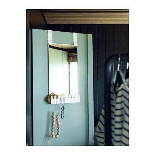 GARNES Over The Door Mirror/hooks U0026 Shelf, Door Hanging White