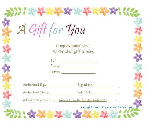 Celebration gift certificate template beautiful printable gift make your celebration more special by giving a gift certificate you can make your own certificate by using our free celebration gift certificate template yelopaper