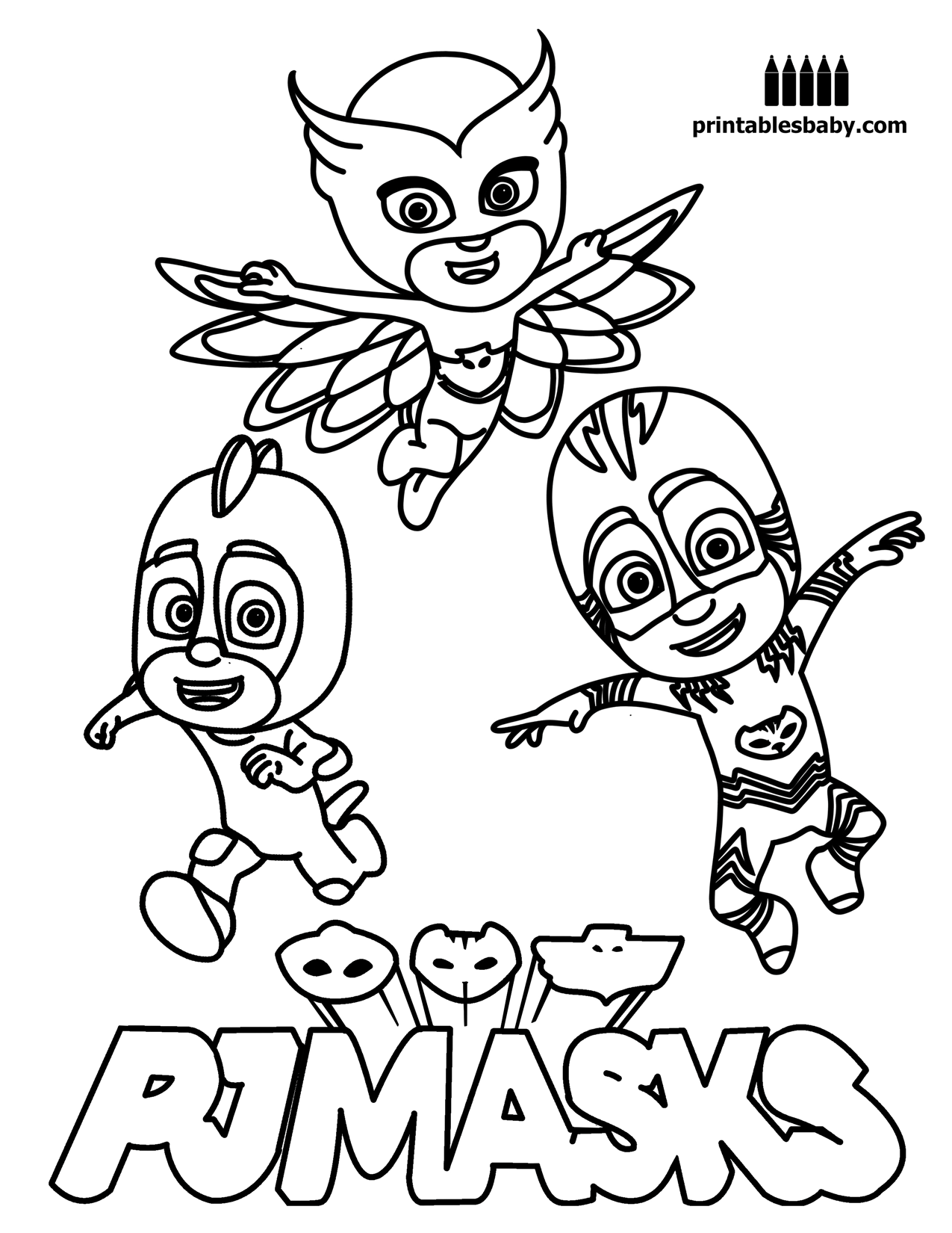 Disney pj masks coloring sheets - Pj Masks Printables Baby Free Cartoon Coloring Pages